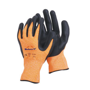 13 Guage Hppe Fibre Knitted Safety Gloves with Nitrile Foam Coated Ce En388 L-D135