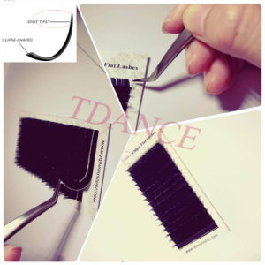Ellipse Flat Wholesale Eyelash Extension Split Tips Ellipse Eyrlashes pictures & photos