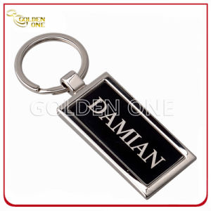 Promotion Gift Debossed Color Fill Logo Rectangle Metal Keychain pictures & photos