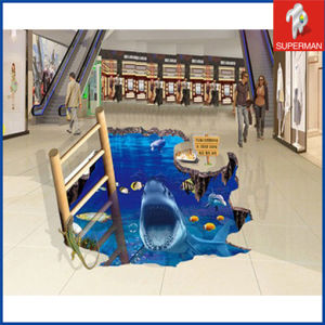 Custom Supermarket PVC 3D Shark Floor Decals Sticker