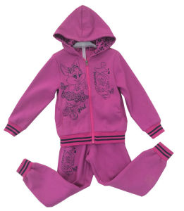 Flower Girl Cardigan Fleece Suit with Hood in Children Clothing Sport Wear (SWG-122) pictures & photos