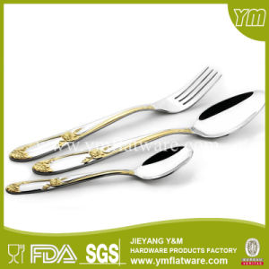 Stainless Steel 6PCS Spoon and Fork Set with Gold Plating