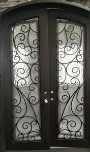 Eyebrow Arch Top Wrought Iron Double Entry Door pictures & photos