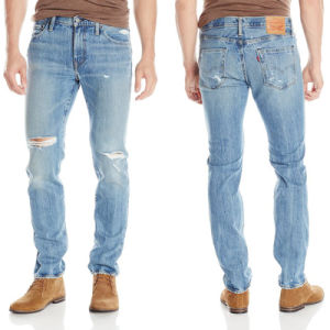 China Men Elastic Ripped Destroyed Blue Jeans with Holes - China ...