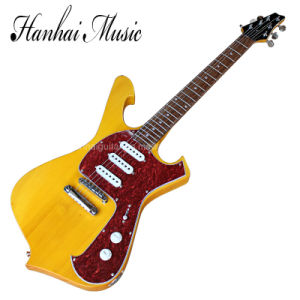 Hanhai Music / Yellow Special Shape Body Electric Guitar pictures & photos