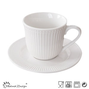 Embossed White Colour Pocerlain Tea Cup and Saucer pictures & photos