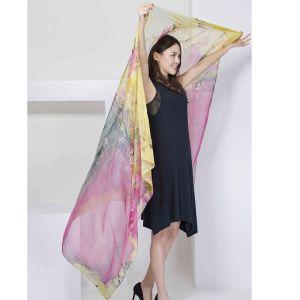 100% Silk Digital Print Shawl X-Large Over Sized Silk Scarf Fashion Silk Chiffon Shawl pictures & photos