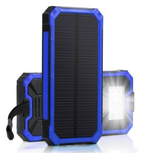 Solar Battery Charger, Hallomall 15000mAh Portable Phone Charger with 6LED Flashlight,Dual USB Port External Battery Charger Solar Power Bank for Smart Phones C pictures & photos