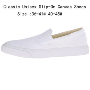 Classic Unisex White Slip-on Canvas Shoes (WS160311-1) pictures & photos