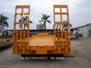 Three Axles Low Platform Lowbed Heavy Cargo Lowboy Gooseneck Semi Trailer pictures & photos