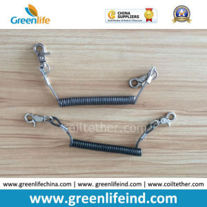 Security Transparent Black Wire Coil Tether Retention Lanyard