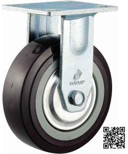4/5/6/8 Inch Heavy Duty Black PU Fixed Castor Wheel Industrial PU Rigid Caster pictures & photos