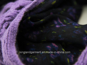100% Acrylic Purple Hollow Knitted Neck Scarf with Georgette pictures & photos