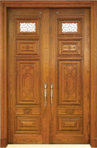 Classic Style Double Solid Wood Door with Glass pictures & photos