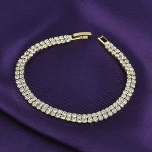 Fashion New Style Yellow Gold Plated Clear Crystal Stone Tennis Bracelets pictures & photos