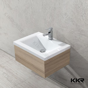 Modern White Solid Surface Vanity Cabinet Washbasin pictures & photos