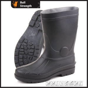 Black PVC Rain Boots with Steel Toe Cap (Sn5221) pictures & photos