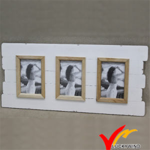 Antique White Wood Wall Beautiful Three Photo Frame pictures & photos