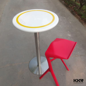 Two Colors High Round Solid Surface Stone Bar Table pictures & photos