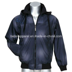 Custom Men′s Printed Polyester Hooded Jacket pictures & photos