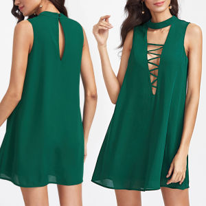 Fashion Women Leisure Casual V-Neck Hollow Back Dress pictures & photos