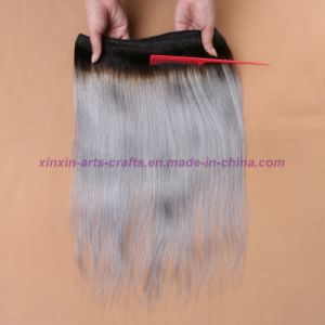 8A Silver Grey Ombre Human Hair Extensions Grey Straight Hair Two Tone Ombre Virgin Grey Indian Hair Weft