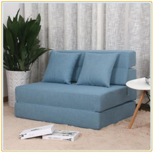 Versatile Sectional Sofa Flannelette Fabric Blue Pull out Bed Sleeper 195*100cm pictures & photos