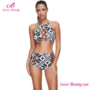 Sunkissed Cross Front Plus Pattern Black and White Bikini