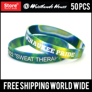 Check Custom Silicone Bracelet Deboss Ink Fill, Emboss Printed Bracelet pictures & photos