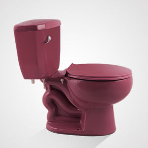 Ceramic Water Closet, Cycle Flush Two Piece Toilet, Purplish Red pictures & photos