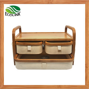 2 Layers Bamboo & Fabric Storage Box Drawer Organizer pictures & photos