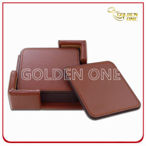 High Quality Promotion Gifts PU Leather Coaster Set pictures & photos