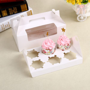 Birthday Moon Paper White Lid and Base Clear Cake Box with Flat Packing pictures & photos