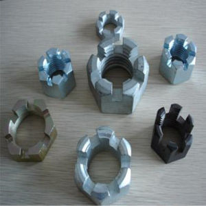 Hexagon Slotted Nuts and Castle Nuts with Metric Coarse and Fine Pitch Thread DIN935 HDG pictures & photos