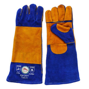 Long Double Palm Cowhide Heat Resistant Safety Welding Gloves pictures & photos