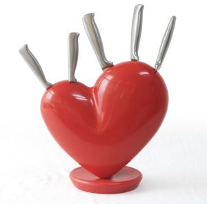 Heart Knife Block Red 5PCS Kitchen Knife Set with Block pictures & photos