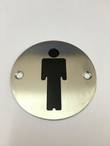 Hot-Selling Toilet Stainless Steel Round Shape Door Sign Plate pictures & photos