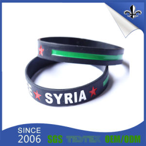 1 Inch Color Filled Rubber Silicone Wristband with Custom Logo pictures & photos