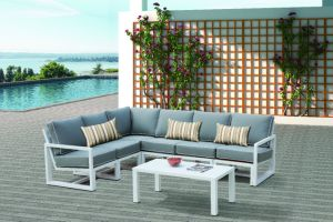 Aluminum Lounge Outdoor Office Hotel Home Patio White Coating Garden Sofa Set (J599) pictures & photos
