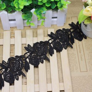 Factory Stock 6cm Width Rose Embroidery Nylon Lace Polyester Embroidery Trimming Fancy Lace for Garments Accessory & Home Textiles & Curtain pictures & photos