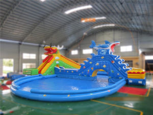 Summer Vacation Shark Theme Inflatable Swimming Pool with Slide pictures & photos