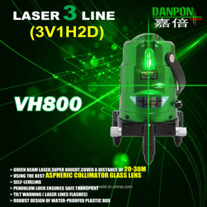 Hand Tool Danpon Three Beams Green Laser Level pictures & photos