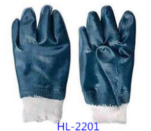 Red Polyester Liner Glove with Black Nitrile Half Coated, Smooth Finishing pictures & photos