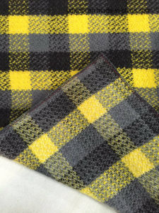 Stock Check Wool Fabric Yellow & Black Woollen Cloth pictures & photos