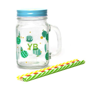 Glass Drinking Mason Jar with Handle and Screw Tin Lid
