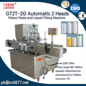 Gt2t-2g Automatic 2 Heads Piston Thick Sauce Filling Machine with Mixing pictures & photos