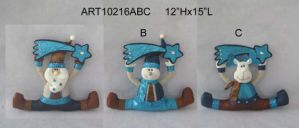 Santa Snowman & Moose Holding Sparkle Greeting Sign Decoration, 3 Asst pictures & photos