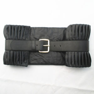 Black Francis Fashion Pleated Leather Belt pictures & photos