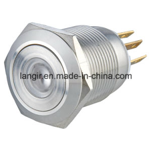 19mm Yellow DOT Illuminated Momentary 1no1nc Stainless Steel Push Button Switch pictures & photos