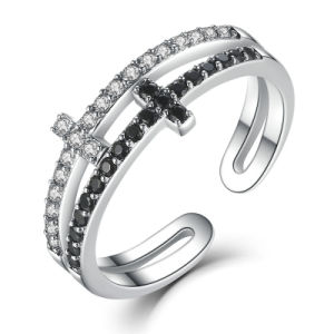 New Collection 925 Sterling Silver Double Layer Cross Symbol Finger Ring Jewel pictures & photos